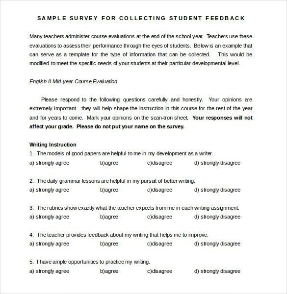 Sample Student Survey. Upon Completion Of The School Climate ...