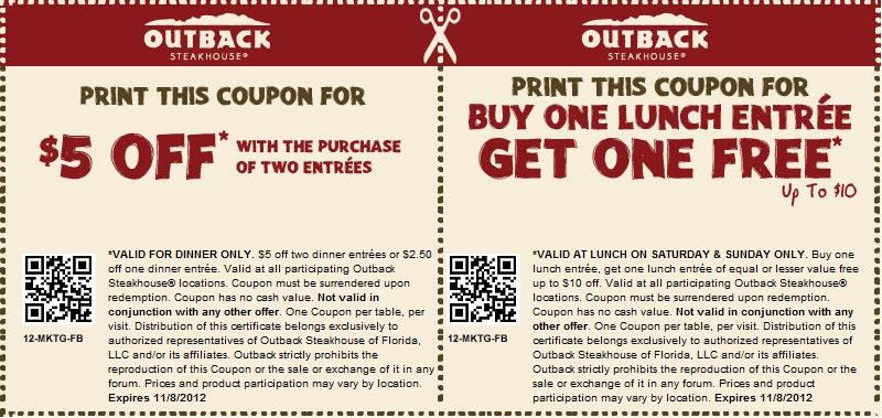 Outback Steakhouse Coupons | Coupon Codes Blog
