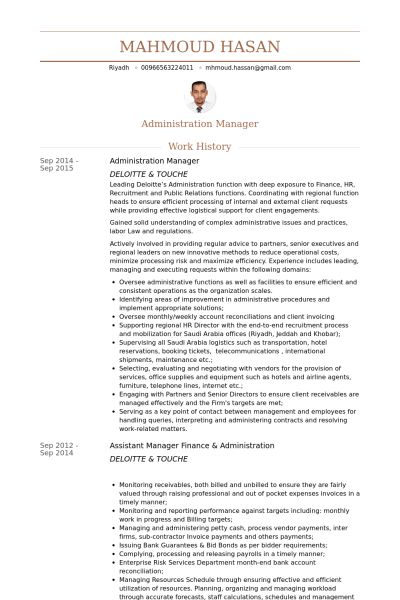 Administration Manager Resume samples - VisualCV resume samples ...