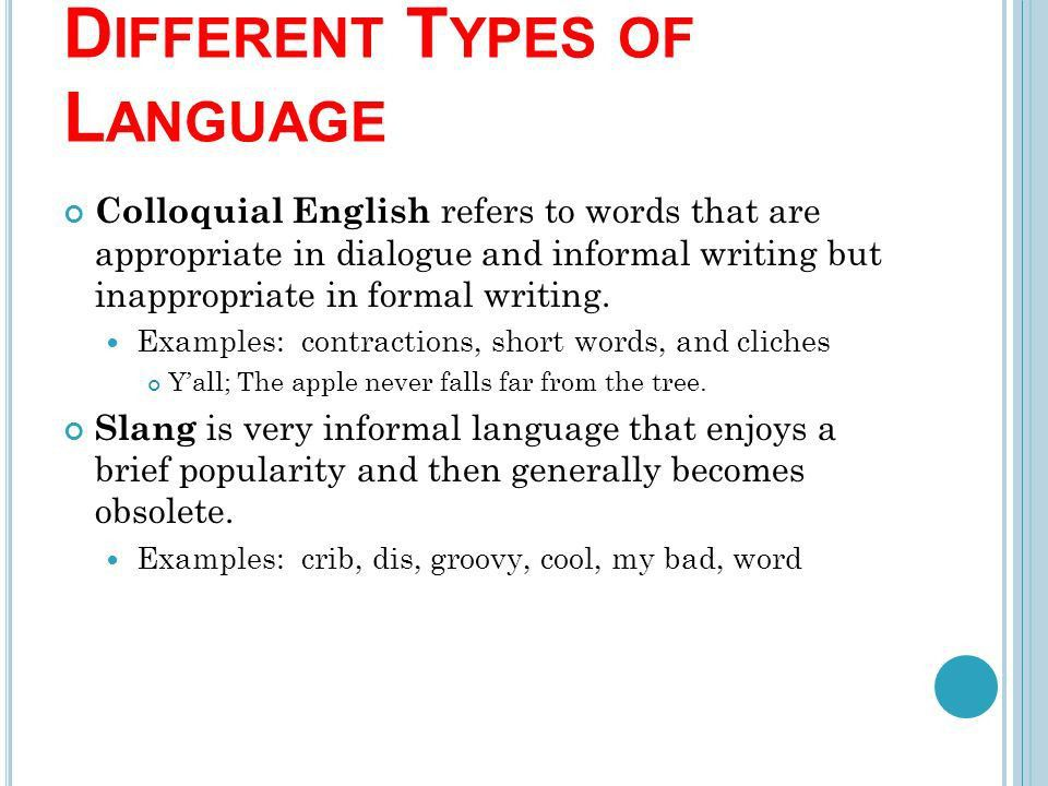 LANGUAGE AND TONE. Language refers to the words a writer uses ...