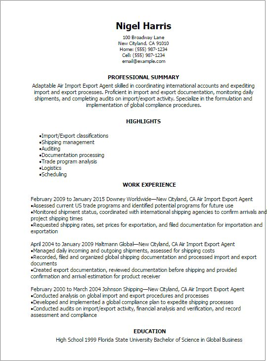 Professional Air Import Export Agent Resume Templates to Showcase ...
