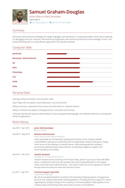 Developer Resume samples - VisualCV resume samples database