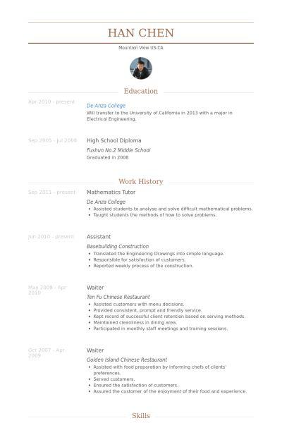Mathematics Tutor Resume samples - VisualCV resume samples database