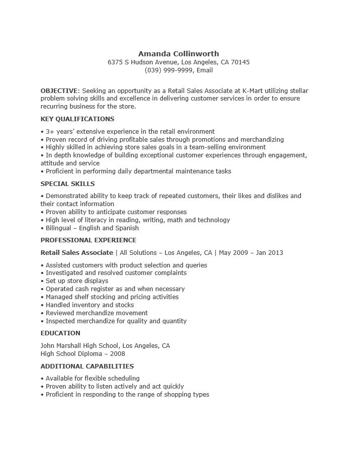 Free Professional Sales Associate Resume Template | Sample | MS Word