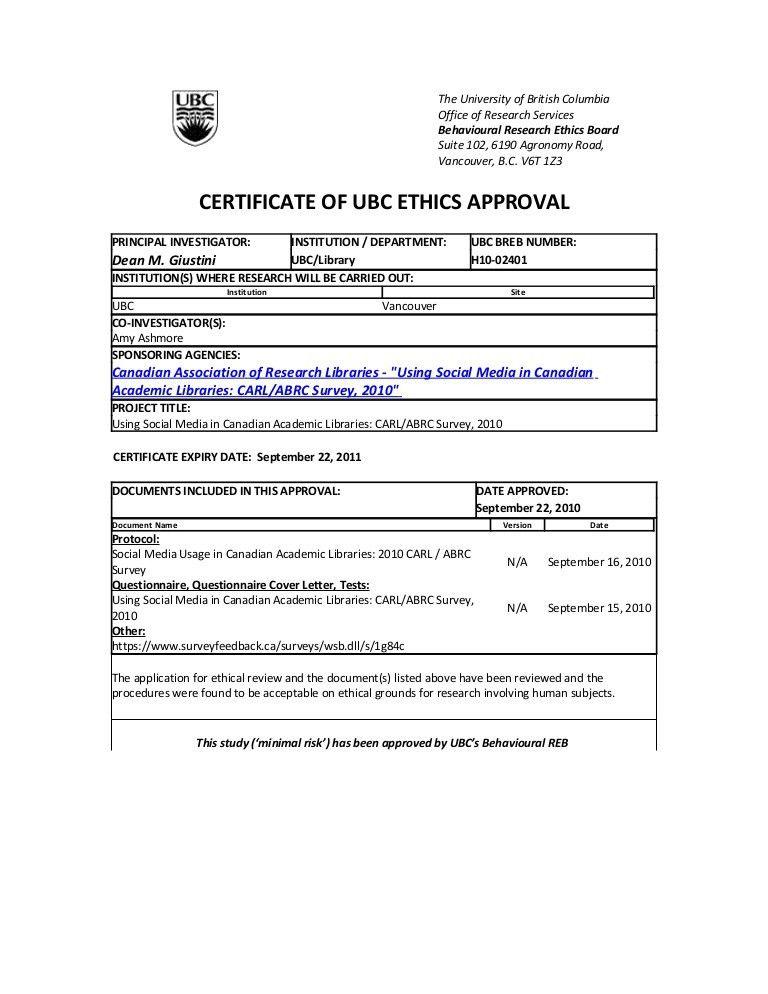 CARL / ABRC UBC ethics approval 2010