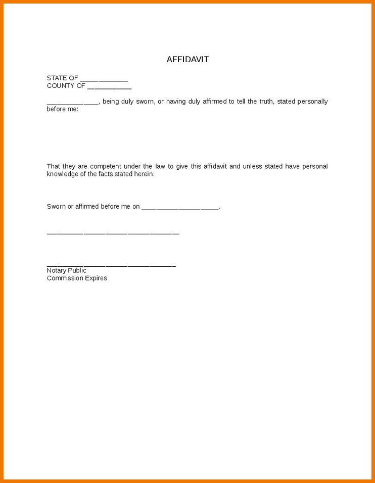 6+ affidavit template | postal-carrier