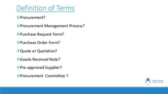 Procurement documentation & processes