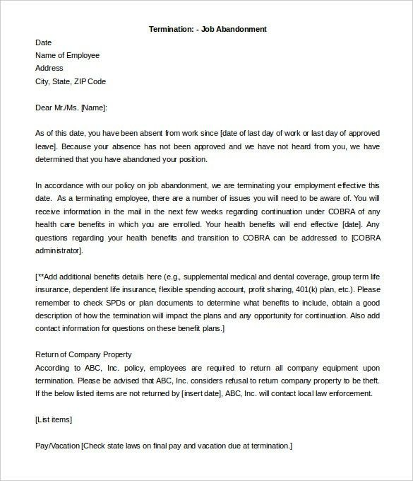 Termination Of Employment. Appeal Letter For Termination Of ...