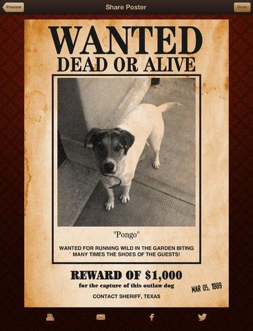 Wanted Poster ProiPad App Finders