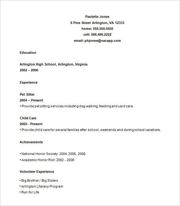 Excellent Idea Teen Resume Template 2 12 Teen Resumes For High ...