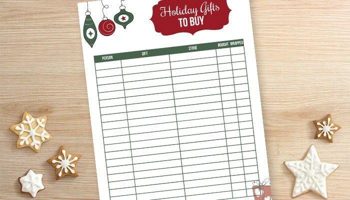 Printable Christmas Gift List - Hoosier Homemade