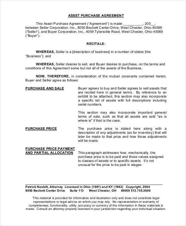 Asset Purchase Agreement - 7+ Free Word, PDF Documents Download ...