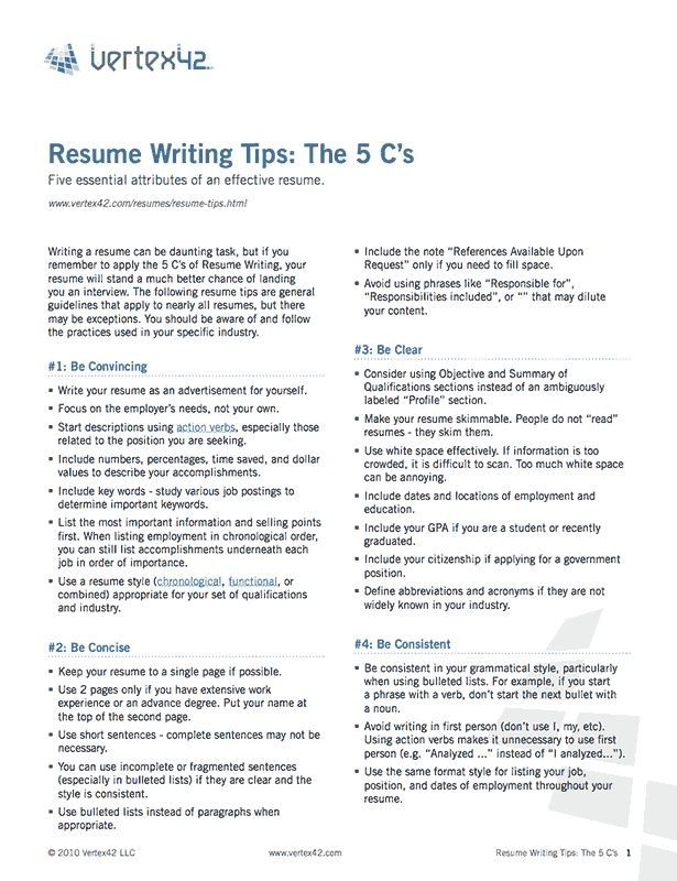 Free Resume Writing Tips