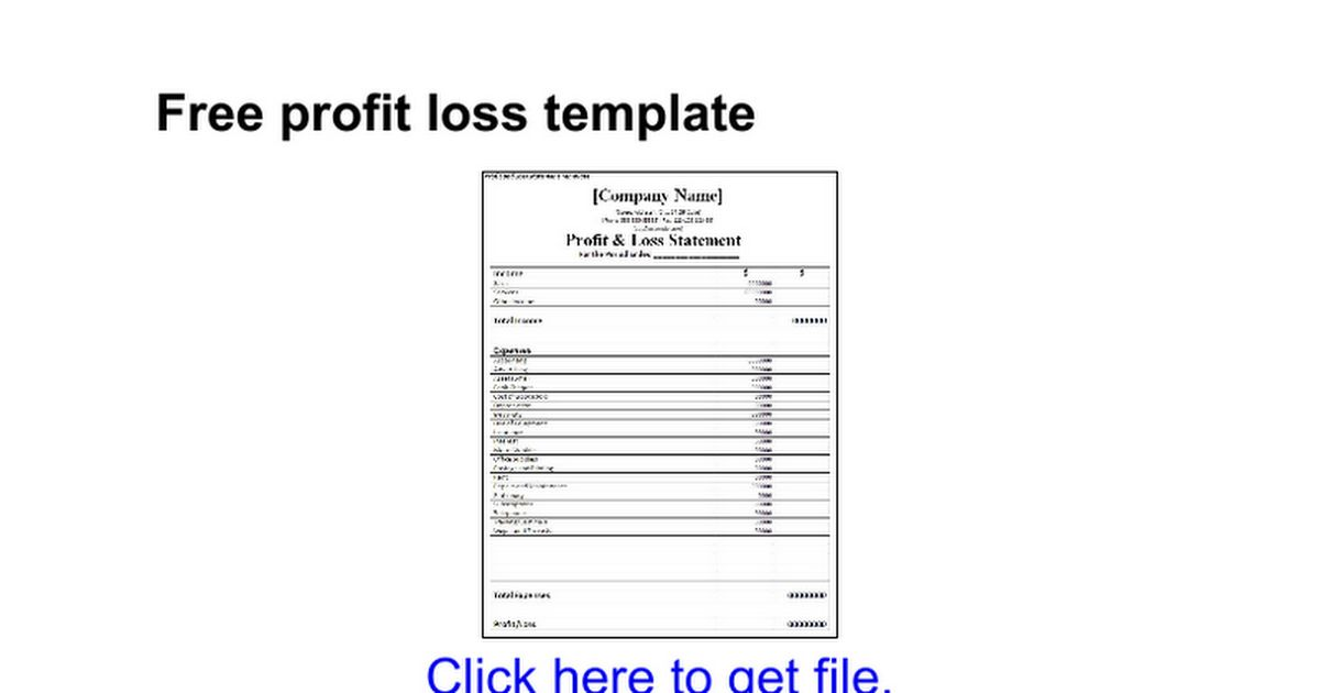 Free profit loss template - Google Docs