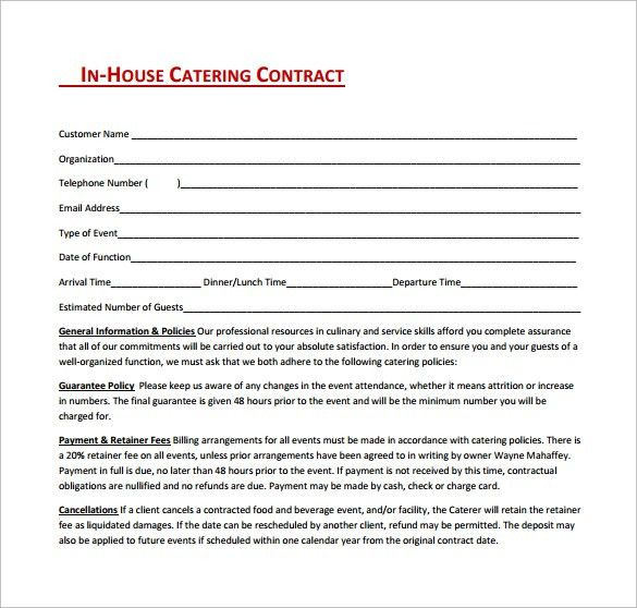 catering contract template word - thebridgesummit.co