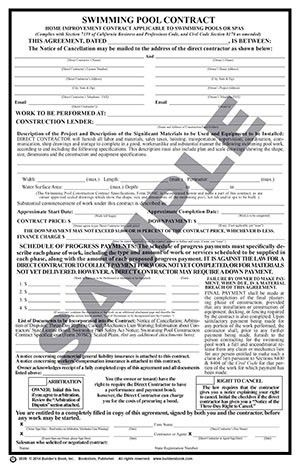 203S - Swimming Pool Construction Contract (Pkg. 50): Builder's ...