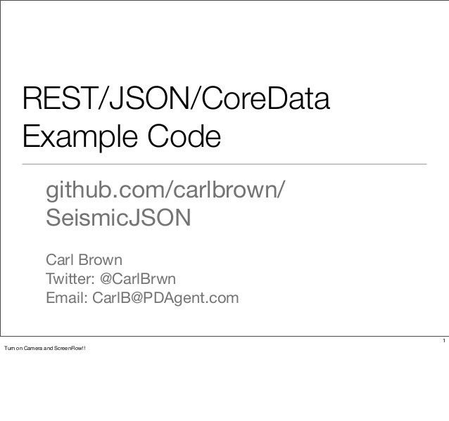 REST/JSON/CoreData Example Code - A Tour