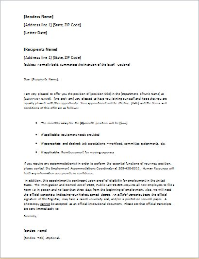 Job Offer Letter Template for WORD | Word & Excel Templates