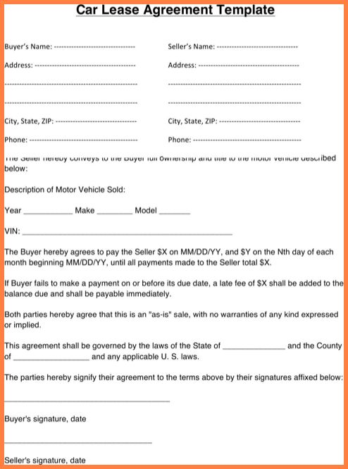 Car Leasing Agreement.car Lease Agreement Template.png   Sales .