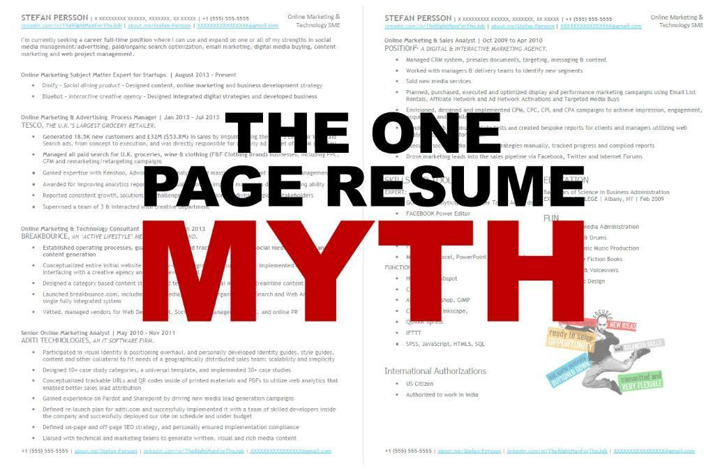 The One Page Resume Myth (Updated) | Stefan Persson | Pulse | LinkedIn