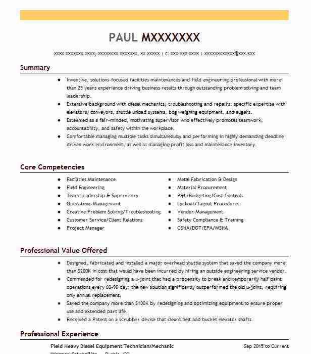Best Field Technician Resume Example | LiveCareer