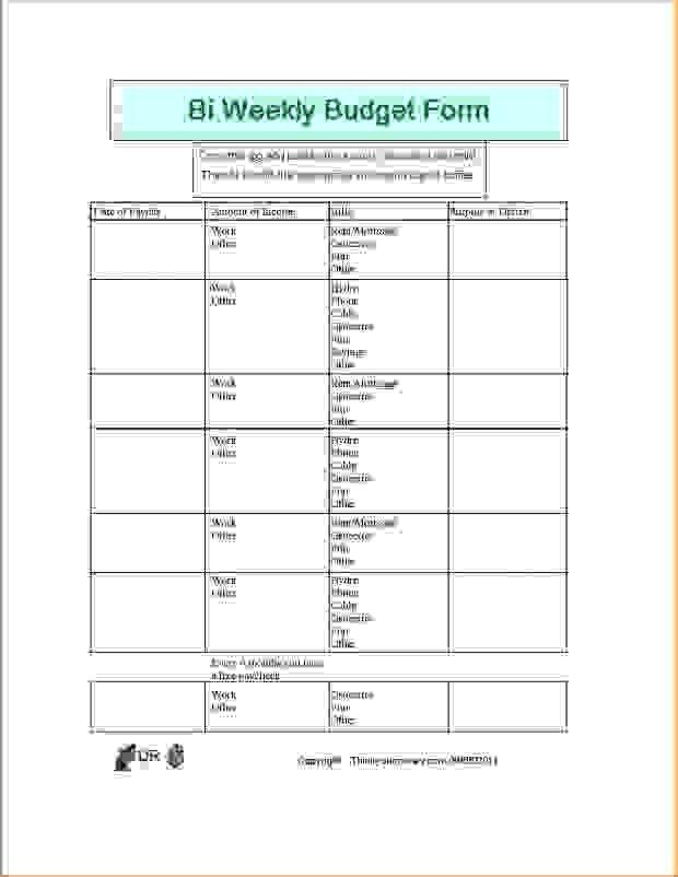 7+ bi weekly budget template | Procedure Template Sample