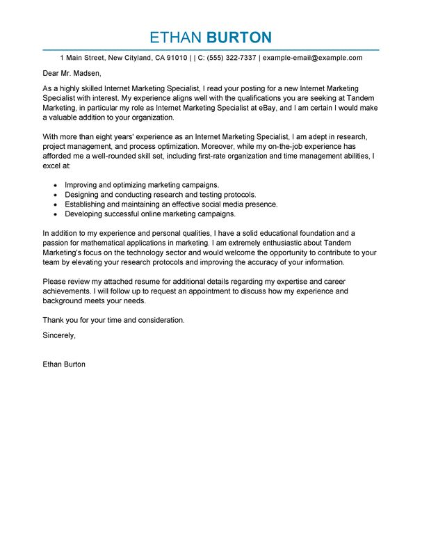 Best Online Marketer and Social Media Cover Letter Examples ...