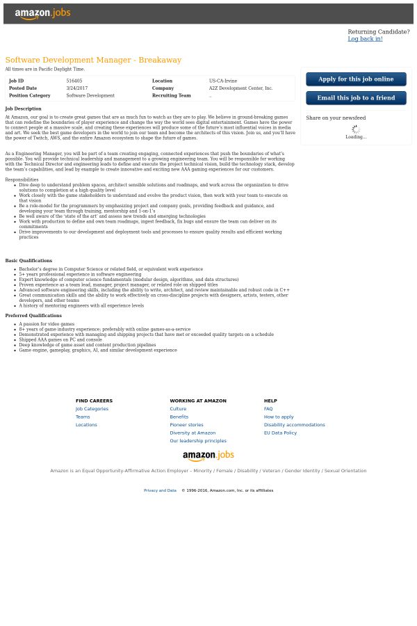 Software Development Manager - Breakaway job at Amazon in Irvine ...