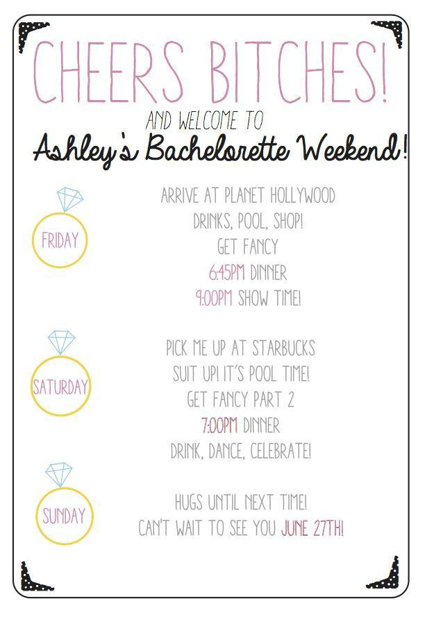 Best 10+ Bachelorette itinerary ideas on Pinterest | Bachelorette ...