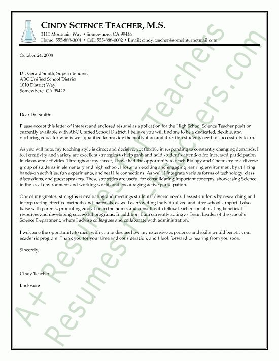 Teaching Cover Letter Resume Cover Letter for Teacher Cover Letter ...