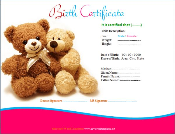 Microsoft Word Templates: Birth Certificate and professional Template