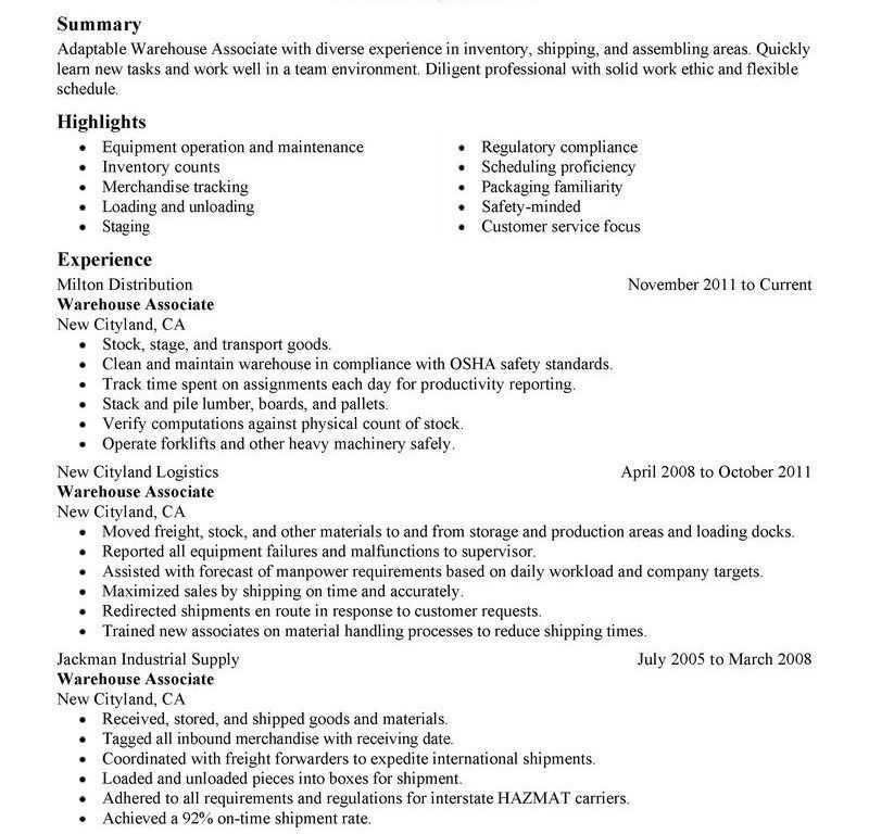 Warehouse Sample Resume, sample warehouse clerk resume - template ...