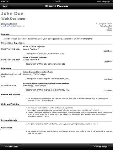 Resume Generator for iPad - Download Resume Generator App Reviews ...
