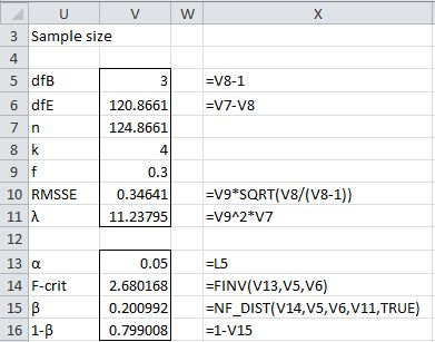 Power for One-way ANOVA | Real Statistics Using Excel