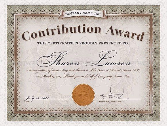Sample Award Certificate Template – 9+ Samples, Examples, Format