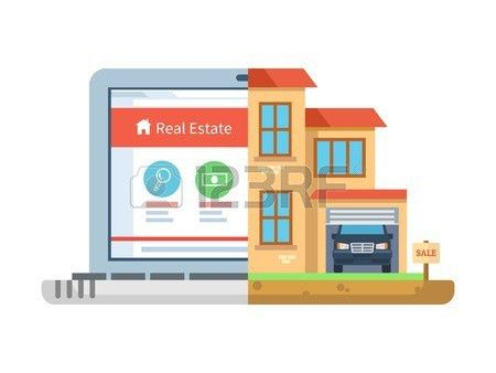 Real Estate. Laptop And Building, House Isolated, Residential ...