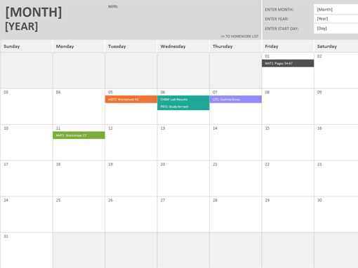 Homework Calendar Template | Blank Calendar Design 2017
