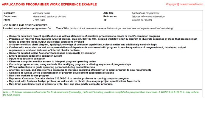 Applications Programmer CV Work Experience Samples