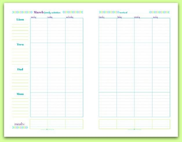 Family Schedules - June's Printable of the Month - Scattered Squirrel