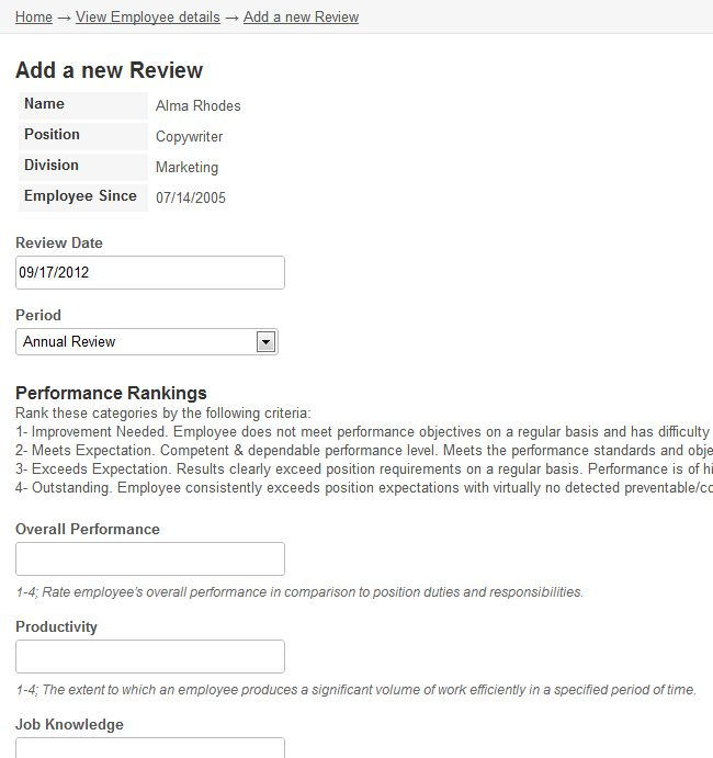 Online database and workflow templates: Employee Reviews