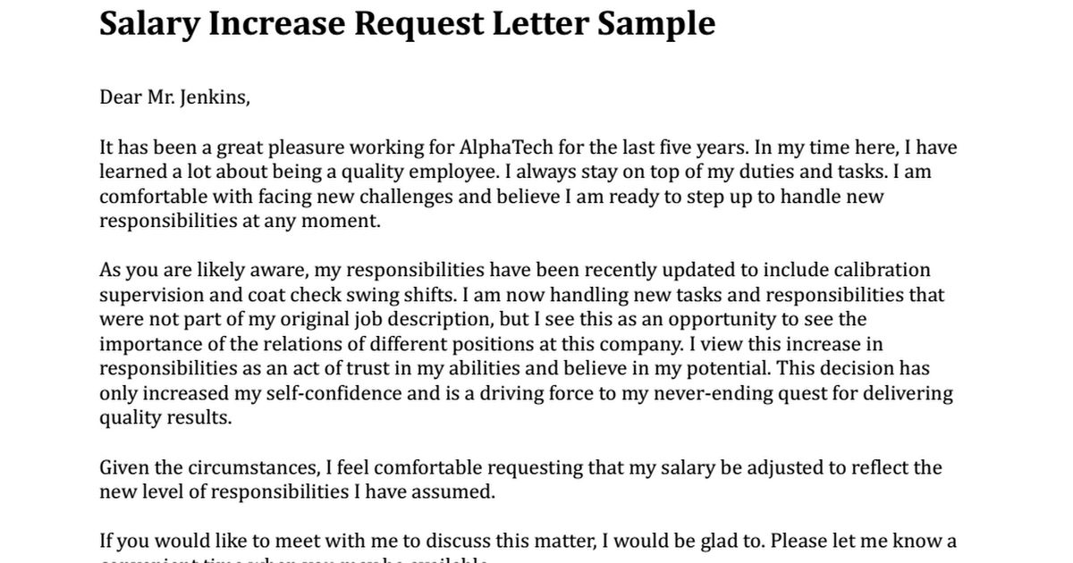 salary increase request letter sample