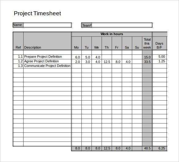 11+ Project Timesheet Templates – Free Sample, Example Format ...