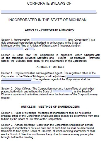Free Michigan Corporate Bylaws Template | PDF | Word |