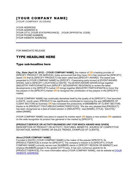 Press Release Company Won an Award - Template & Sample Form ...