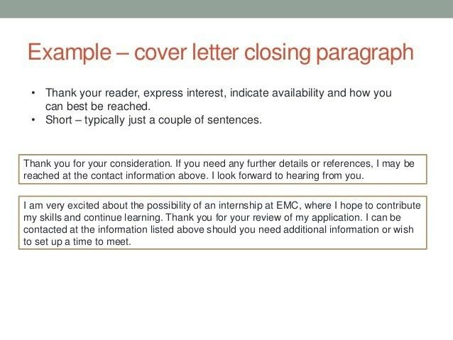 Cover Letter Closing Paragraph Examples | The Letter Sample