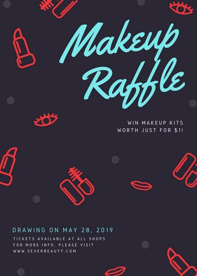 Black Makeup Patterned Raffle Flyer - Templates by Canva