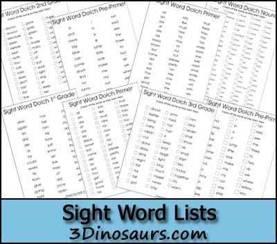 Free Free Sight Word Dolch Cards & Lists | Sight words list ...