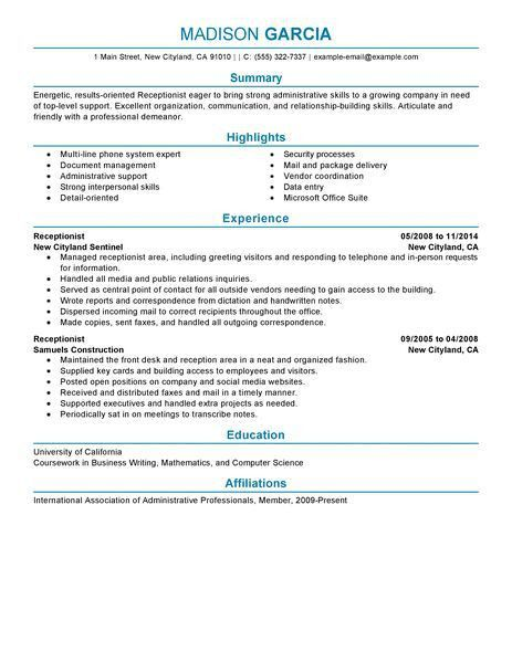 Medical Receptionist Resume Examples. Medical Resume Format ...