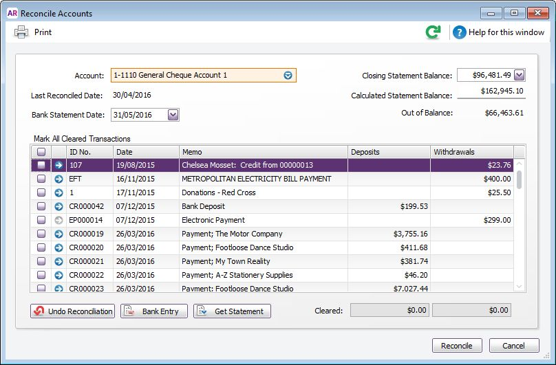 Reconciling your bank accounts - MYOB AccountRight - MYOB Help Centre