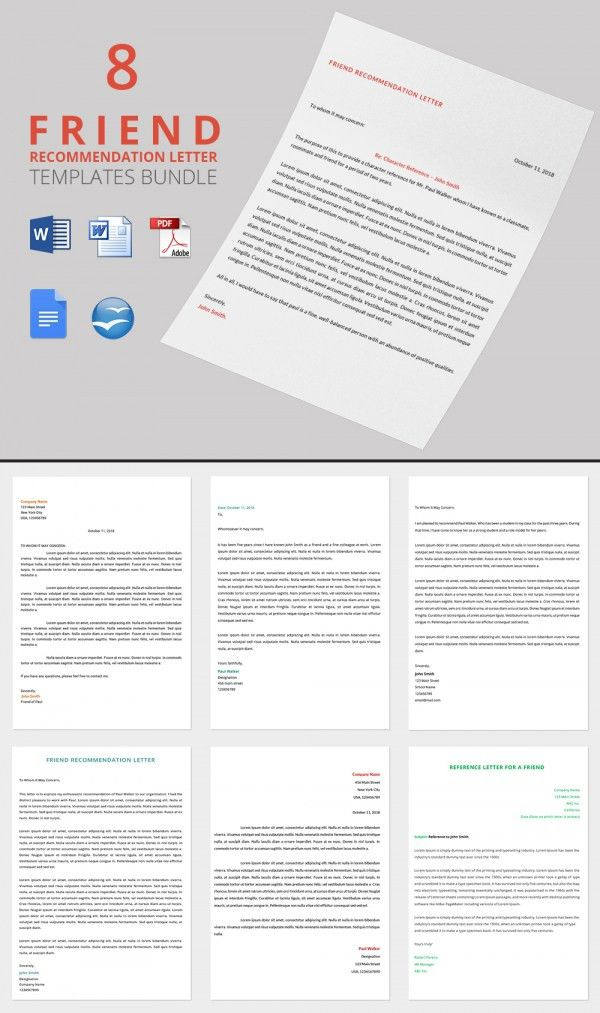 Recommendation Letter for a Friend - 15+ Free Word, Excel, PDF ...